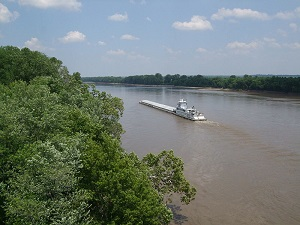 Missouri river tug and barges