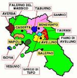 map of campania wines