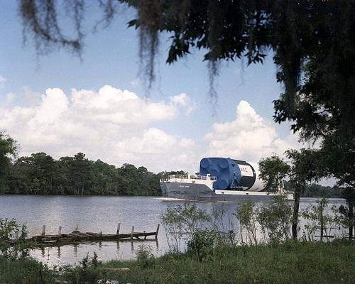 Pearl River barge transporting Saturn V
