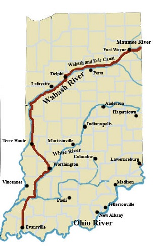 Wabash and Erie Canal map